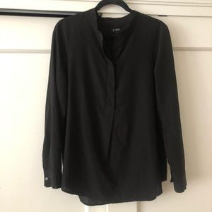 J Crew black 1/2 button down shirt